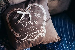 Pillow close up with word love