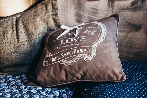 Pillow close up with dream love