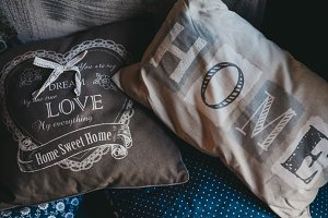 Decorative pillows. Home with love