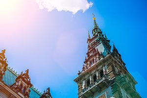 Copper roof of Rathaus city hall Parlament Castle Hamburg