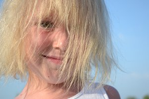 Portrait of cute little child - blonde hair