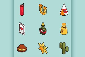 Wild west color icons