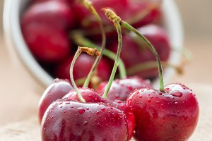 Cherries with water drops
