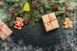 Christmas background with decorations