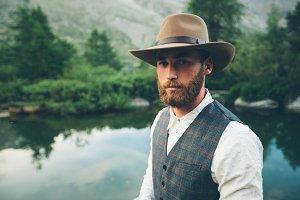 Cawboy hipster man