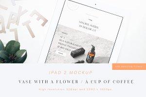 iPad 2 Mockup (Flower & Cup)