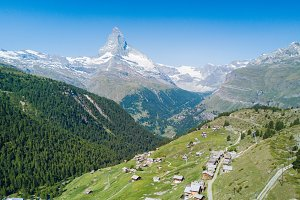 Matterhorn mountain from drone