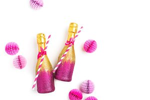 Pink and Gold Champagne bottles