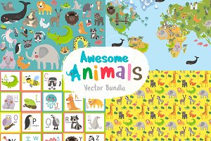 Awesome animals vector bundle