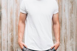 Man in empty T-shirt for your logos