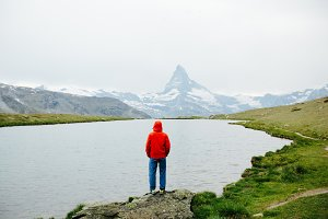 Hiker in Swiss Alps