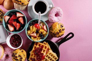 Tasty healthy breakfast pink table