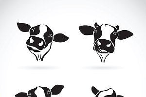 Vector group of a cow head design.