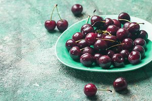 Fresh cherry on plate
