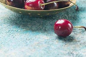 Fresh cherry in spoon