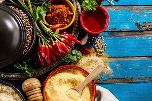 Tasty healthy food ingredients top