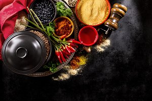 Tasty healthy food ingredients spice
