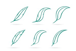 Vector group of feather. Icon