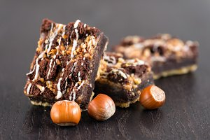 Chocolate brownie cake with nuts