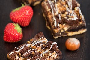 Brownie with nuts and strawberry