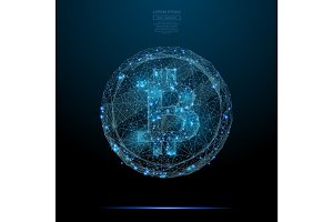 bitcoin low poly blue