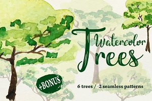 Set of 6 watercolor trees