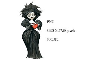 Gothic cartoon lady