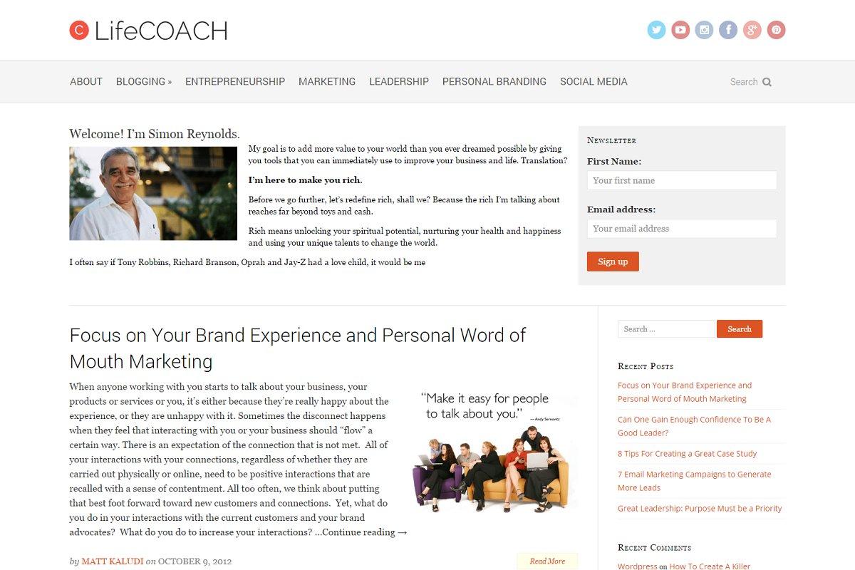 LifeCoach Theme for Coaches & Author