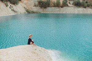 Beauty woman in lake
