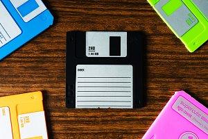 Vintage set of floppy discs illustration