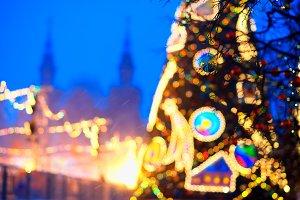 Moscow Christmas tree decoration bokeh