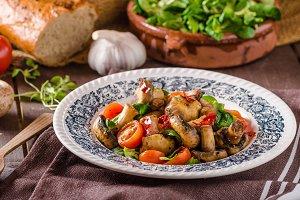 Warm mushroom salad with chilli
