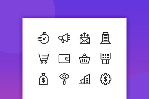 Business Income Line Icons