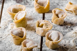 Preparing homemade tortellini