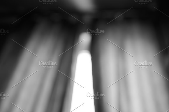 Black And White Window Curtains Bokeh Background