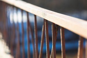 Diagonal bridge banister bokeh background