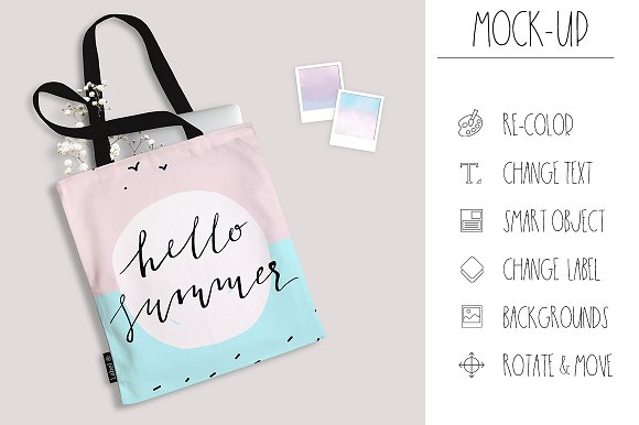 Tote Bag Mock-up PSD Smart Objects