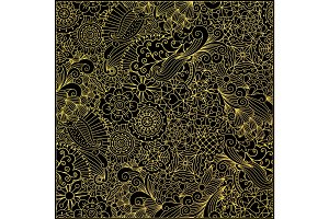 Leaves and swirls gold decorative pattern