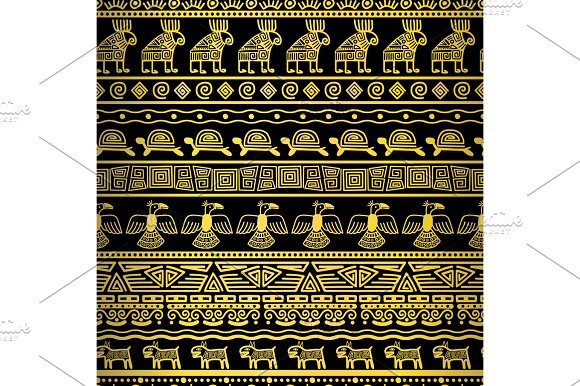 Tribal gold borders with mexican texture