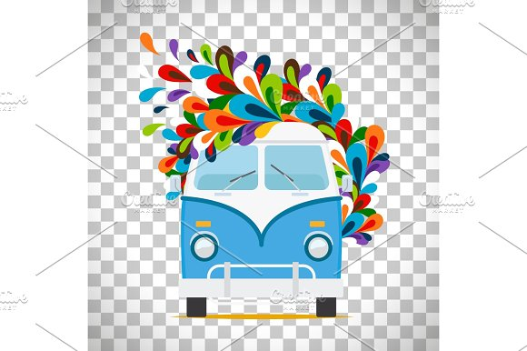Hippie flowers bus on transparent background in Illustrations