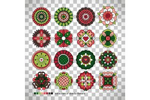 Doodle collection of ethnic flowers