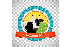 Fresh milk logo with cow