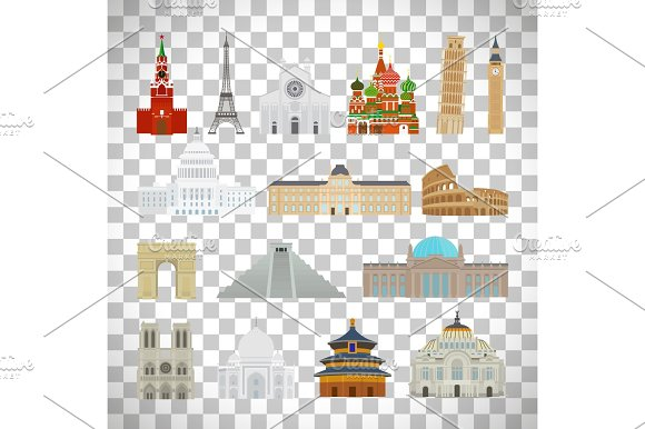 Monuments Flat Icons On Transparent Background