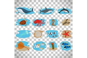 Sea animals set on transparent background