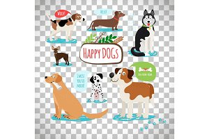 Cartoon dogs on transparent background