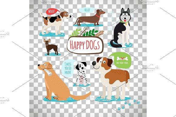 Cartoon Dogs On Transparent Background