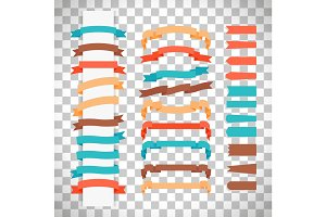 Retro style ribbons on transparent background