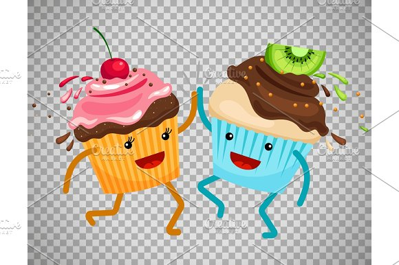Cupcakes Clap Hands On Transparent Background