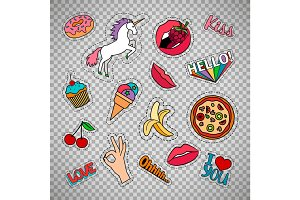 Funny quirky food stickers set
