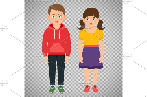 Crying Kids Characters On Transparent Background